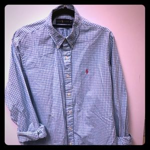 Polo Men's Button Down Light Blue Hot Pink Pony XL